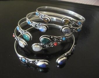 Silver plated Bracelet with Stone of your choice, Adjustable bracelet, Tribal Bracelet, Ethnic Bracelet, Bangle