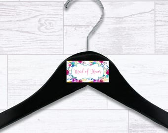 Floral Maid of Honor Wooden Hanger - Wedding Hangers - Bridal Hanger - Maid of Honor Gift - Wedding Gift - Wedding Supplies - HNGR0042