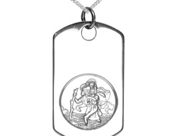 Beautiful Solid Sterling Silver Saint Christopher Dog Tag