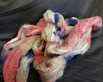 Hand Dyed Shetland Wool - Tussah Silk Top