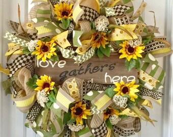 Everyday Front Door Wreath, Wreath For Everyday, Sunflower Wreath For Everyday, Everyday Door Wreath, Everyday Wreath For Door