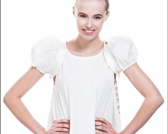 Cute shrug made of white musselin silk and satin silk - perfect accessory for bridal dresses!-SALE!