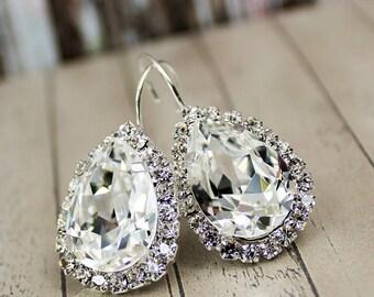 Crystal Earrings Bridal Earrings Teardrop Bridal Earring Crystal Wedding Bridal Jewelry Set Bridesmaid Jewelry Set Diamante Diamond Earrings