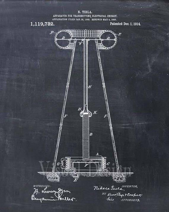 Tesla coil patent print tesla coil art print malvernweather Choice Image