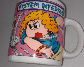 Schrier Coffee Mug Cup System Interface Crazy Lady Work Fight 1988 Computer