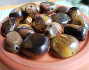 Lot of Tiger's Eye Beads Assorted Sizes