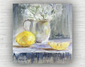 Lemon Painting Print of Still Life Oil Painting Flower Home Decor Wall Art - Yellow Kitchen Food Room Decor, Unique Dining Room Art Print