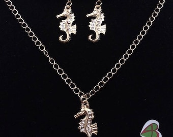 Necklace and earrings Seahorse