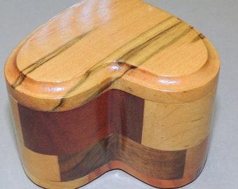 Inlay Wood HEART Trinket Box