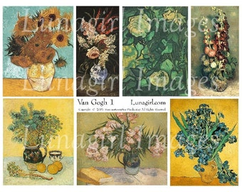 Vincent VAN GOGH digital collage sheet, Art antique paintings flowers vintage images sunflowers irises still-life pictures Ephemera DOWNLOAD