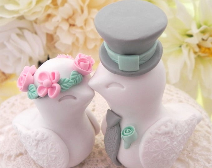 Love Birds Wedding Cake Topper, White, Pink, Green and Grey, Bride and Groom Keepsake, Fully Personalized
