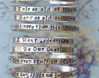Tale as Old as Time Beauty and the Beast Cuff Bracelet   Fairy Tale Jewelry   Beauty and the Beast inspired jewelry   Personalised Bracelet