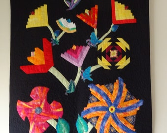 """Hand Made Patchwork Art  Quilt  Black Background, Log Cabin Flowers in a Pond, Appliqued and Machine quilted  Wall Hanging- 43"""" X 33"""""""