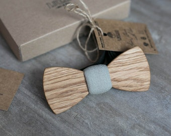 Wooden bow tie, oak wood bow tie, wooden bowtie, gray bow tie, wedding Groomsmen bowtie  gifts, Boyfriend gift, Gifts for Him, Personalized