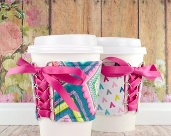 Coffee Cup Sleeve // Boho Geo Cup Cozy // adjustable // reversible // reusable // eco-friendly // gift // to go cup cozy // tumbler cozy //