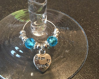 Best friend wine glass charm • best friend gift • beaded wine glass charm •  choice of bead colour