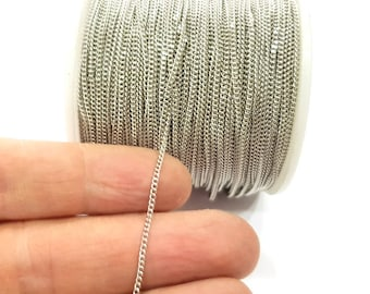 5mt Silver Soldered Chain curb chain 1,5 mm 16.5 feet - 5 meters   G11255