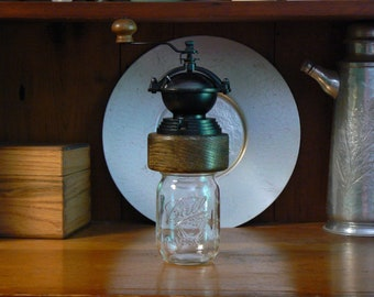 Mechanical Coffee Grinder - Coffee Mill - Fresh Ground Coffee – Canning Jar Base - Burr Grinder - Foodie -CJ-CG-69