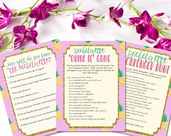 INSTANT DOWNLOAD printable bachelorette games / bachelorette party games / pineapple bachelorette bundle / drink if game / scavenger hunt