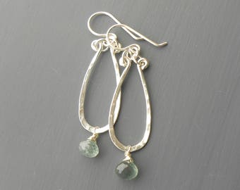 Moss Aquamarine Sterling Silver Hammered Dangle Earrings