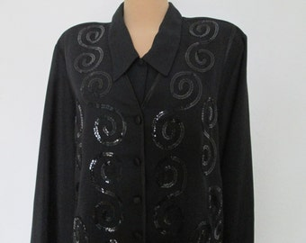 Big Black Blouse / Blouse Vintage / Womens Blouse / Size EUR52 / UK24 / Imitation of Vest in Front