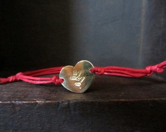 Custom stamped heart bracelet, Cוustom monogram bracelet, friendship bracelet, heart bracelet,  adjustable bracelet, love bracelet