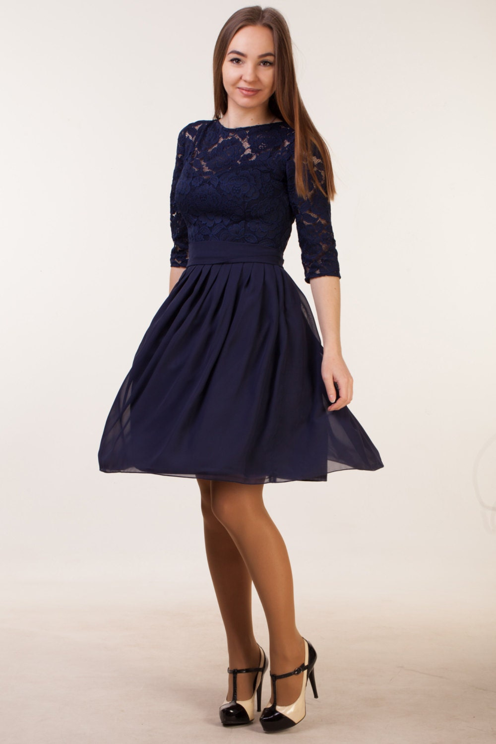 Short navy blue dress with sleeves navy blue bridesmaid dress description short lace navy blue dress ombrellifo Gallery