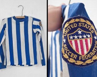 1975 PELE Shirt US Soccer Federation Blue White XS Stripes Kids Futbol