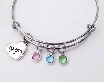 Mom Gifts, Mothers Day Gifts for Mom, Birthstone Bracelet, Mom Jewelry, Birthstone Bangle, Mom Birthday Gift, Gift for Mom, Family Bracelet
