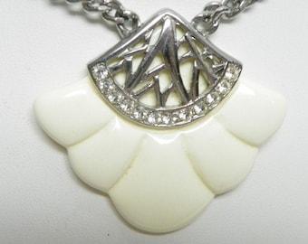Vintage Art Deco Style Fan Pendant Acrylic, Silver Tone, Rhinestones, Filigree Pendant Necklace
