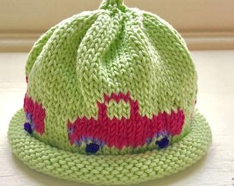 Handmade Green Hat with Magenta Trucks