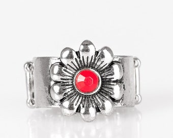 Dreamy Field Red adjustable ring