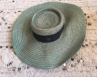 Vintage 70's GUCCI GG Monogram Woven Sun Beach Hat BOHO Chic!  Oversized Large Brim! Rare!