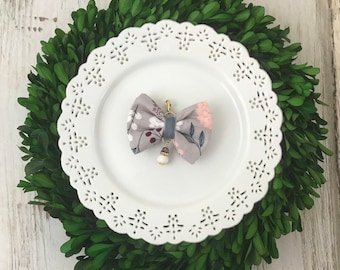Winter Floral Whimsical Bow