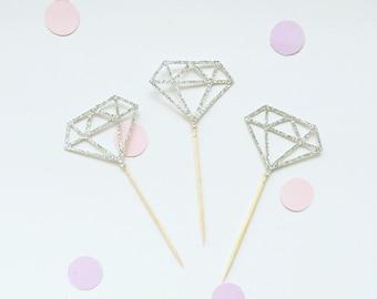 Diamond gem cupcake toppers gold silver glitter