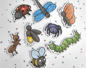 Refrigerator Magnets, Funny Bugs, Insect Magnets, Creepy Critters,  Fridge Magnets, Kitchen Decor, Ladybug, Bumble Bee, Caterpillar, Spider
