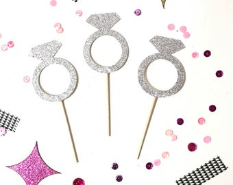 Diamond Ring Cupcake Toppers, Bridal Shower Cupcake Toppers, Bachelorette Party Cupcake Toppers, Wedding Cupcake Toppers