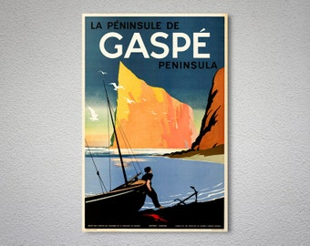 Gaspe Peninsula Vintage Travel Poster, Canvas Giclee Print / Gift Idea