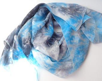 blue and navy blue silk scarf, long silk scarf, hand dyed silk scarf, handmade silk scarf,elegant silk scarf,gift for her