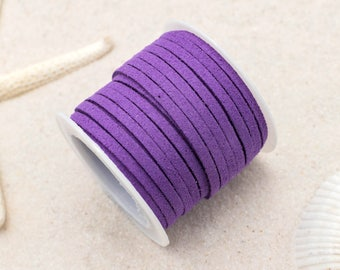 Faux Suede Cord, 3mm Flat Cord, 5 Meters,   Jewelry Cord, Purple -S1
