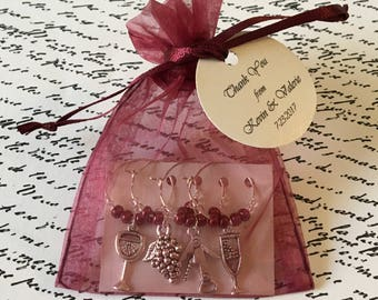 1-14 Custom Wine Themed Wine Charm Favor Sets - Weddings, Bridal Shower, Rehearsal Dinner, Anniversary, Birthday Party or Special Event