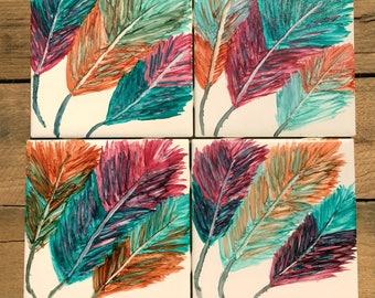 Feather Decor, Feather Coasters, Tile Coasters, Colorful Decor, Boho Decor,