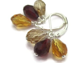 Autumn Crystal Earring Charms Sterling Silver Leverback Red Crystal Interchangeable Earrings REDUCED 20 Percent