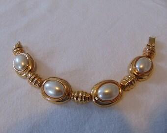 vintage kjl signed pearl gold plated bracelet bridal wedding dressy