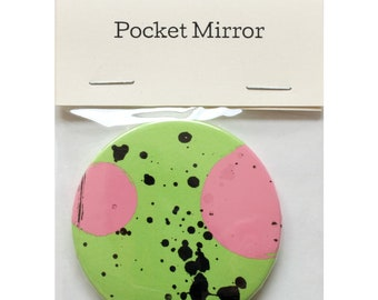 "Pocket Mirror by Fiona Hamilton - One Off, Paint, Pattern, Splash, Splodge, Foil, 2.25"", Green, Pink, Black"