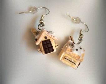 Earrings handmade polymer clay gingerbread house