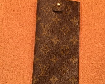 """Sunglass or eyeglass case upcycled from authentic Louis Vuitton canvas approximately 3.75 by 7"""""""