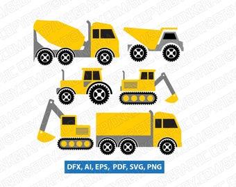 Construction Transportation Dump Truck Crane Backhoe Excavator SVG Vector Cricut Cut File Clipart Png Eps Dxf