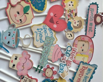 Tea party cupcake toppers, 21 cupcake toppers for tea party, tea party theme, tea party supply, tea party cupcake topper, tea party toppers
