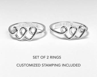 Best Friend Rings For 2, Two Sister Rings, Personalized Gift for 2 Friends, Sister Gift, Best Friend Gift, Twin Sister Jewelry, Friendship